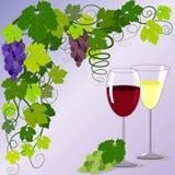 Twee glazen en wijnstoktakken stock illustratie