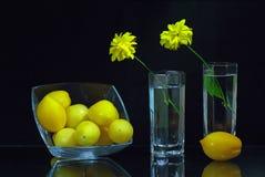 Twee glazen met bloemen en een kom met tomaten Royalty-vrije Stock Fotografie