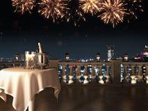 Twee glazen met champagne en fles het 3d teruggeven Royalty-vrije Stock Afbeeldingen