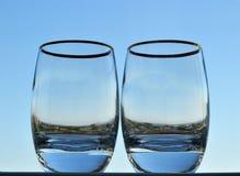 Twee glazen met een dikke bodem royalty-vrije stock foto