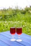 Twee glazen met eigengemaakte rode wijnstok op blauwe raad in openlucht in een platteland bij de zomer Royalty-vrije Stock Afbeeldingen