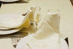 Twee glazen met servetten Royalty-vrije Stock Fotografie