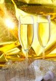 Twee glazen mousserende wijn Stock Foto's