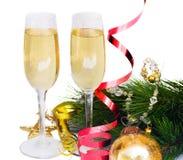 Twee glazen nieuwe jaarchampagne Stock Foto's