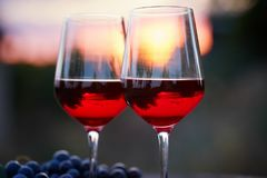 Twee glazen rode wijn Stock Foto