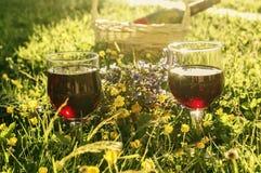 Twee glazen rode wijn Royalty-vrije Stock Foto