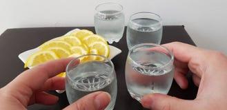 Twee glazen van de handengreep met wodka stock afbeelding
