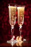 Twee glazen van de kristalchampagne Royalty-vrije Stock Afbeelding