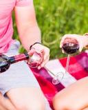 Twee glazen van de rode wijn Royalty-vrije Stock Foto's