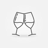 Twee glazen van het pictogram van de wijnlijn Royalty-vrije Stock Foto