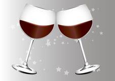 Twee glazen wijn Royalty-vrije Stock Foto's