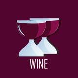 Twee glazen Wijn - het ontwerp van het partijembleem Stock Fotografie
