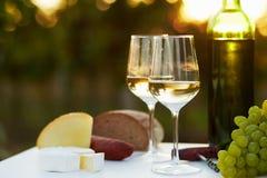 Twee glazen witte wijn Stock Afbeelding
