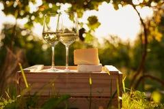 Twee glazen witte wijn met kaas op houten doos Stock Fotografie