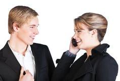 Twee glimlachende mensen Stock Foto