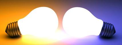 Twee gloeilampen stock illustratie