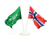 Twee golvende die vlaggen van Saudi-Arabi? en Noorwegen op wit wordt ge?soleerd stock illustratie