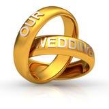 Twee gouden bruiloftringen Stock Foto's