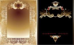 Twee Gouden en Zwarte Koninklijke Achtergronden Royalty-vrije Stock Foto