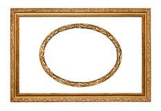 Twee gouden frames met het knippen van weg Stock Foto's