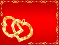 Twee gouden harten Royalty-vrije Stock Foto