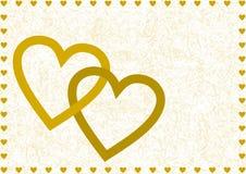 Twee gouden ineengestrengelde grote open harten Royalty-vrije Stock Foto's