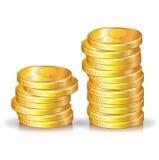 Twee gouden muntstukkenstapels Stock Fotografie