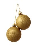 Twee gouden nieuwe jaarballen Royalty-vrije Stock Afbeeldingen