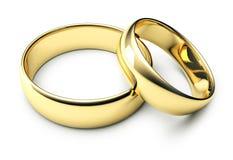 Twee gouden trouwringen Stock Afbeeldingen