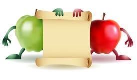 Twee Grappige appelen met document stock illustratie