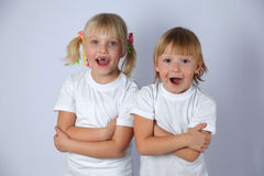 Twee grappige meisjes Royalty-vrije Stock Foto