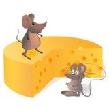 Twee grappige mouses dichtbij de grote kaas stock illustratie