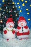 Twee grappige sneeuwmannen Royalty-vrije Stock Foto