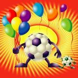 Twee grappige voetballen en ballons Royalty-vrije Stock Foto