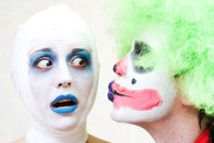 Twee griezelige clowns Stock Foto
