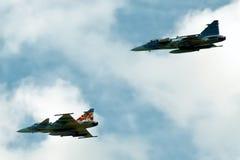 Twee Gripen-vechters Royalty-vrije Stock Afbeeldingen