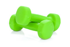 Twee groene dumbells Stock Afbeelding