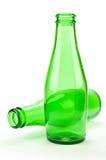 Twee Groene Flessen van het Bier Stock Foto