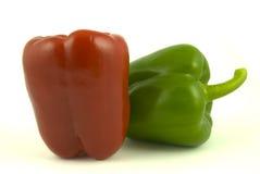 Twee groene paprika's Royalty-vrije Stock Foto's