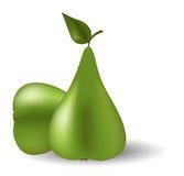 Twee groene peren Stock Foto's