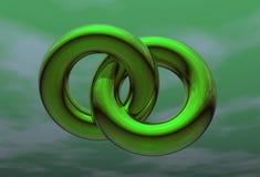 Twee groene ringen in groene hemel stock illustratie