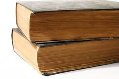 Twee grote oude, doorstane boeken Royalty-vrije Stock Afbeelding