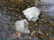 Twee grote rotsen in een stroom stock foto