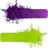 Twee grungebanner in purpere en groene kleuren stock illustratie