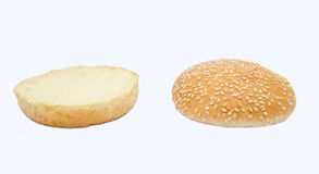 Twee halfs van hamburguer Royalty-vrije Stock Foto