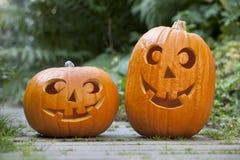 Twee Halloween pumkins Royalty-vrije Stock Foto's