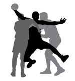 Twee handbalspelers die tegenspeler blokkeren Stock Afbeelding