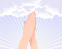 Twee handen die bij de hemel bidden Royalty-vrije Stock Afbeelding