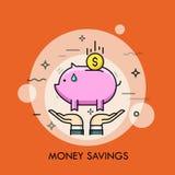 Twee handen die het muntstuk van het spaarvarken en van de dollar houden Geldbesparing, het persoonlijke financiën deponeren, inv royalty-vrije illustratie