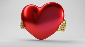Twee handen die rood 3d weerspiegeld hart houden Stock Foto